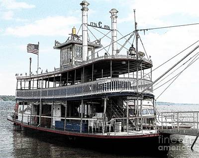 Photograph - Chautauqua Belle Steamboat With Ink Sketch Effect by Rose Santuci-Sofranko