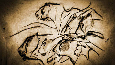 Chauvet Cave Lions Burned Leather Art Print