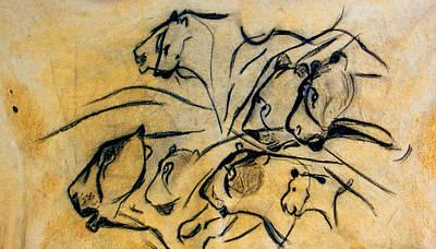 chauvet cave lions Clear Art Print
