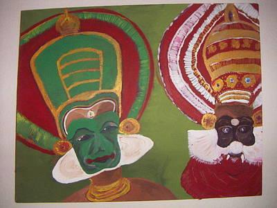Kathakali Dancer Painting - Chavunna And Thaadi by Narendra Chirmule