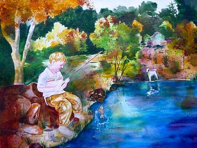 Dog In Lake Painting - Chayton's Lake In The Woods by Sharon Mick