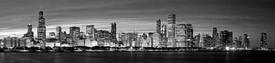 Chciago Skyline In Black And White Art Print by Twenty Two North Photography