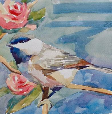 Wall Art - Painting - Chckadee With Roses  by Jo Mackenzie