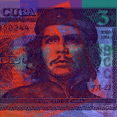 Digital Art - Che Guevara 3 Peso Cuban Bank Note - #3 by Jean luc Comperat