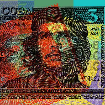 Digital Art - Che Guevara 3 Peso Cuban Bank Note - #1 by Jean luc Comperat