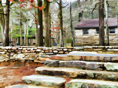 High Park Fire Painting - Cheaha State Park In The Fall by Lanjee Chee