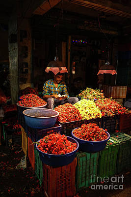 Real Life Photograph - Cheannai Flower Market Colors by Mike Reid