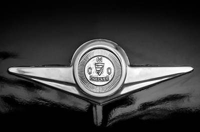Checker Cab Photograph - Checker Emblem -1104bw by Jill Reger