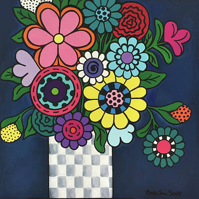 Painting - Checkered Bouquet by Beth Ann Scott