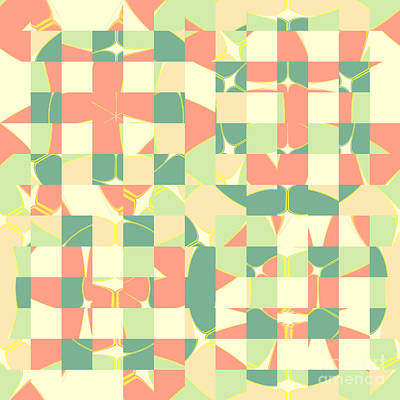 Checkered Green And Salmon Art Print
