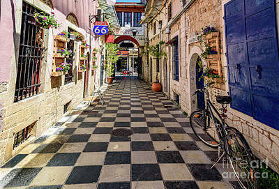 Photograph - Checkered Streetscape In Lefkada, Greece  by Global Light Photography - Nicole Leffer