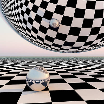 Surrealism Royalty-Free and Rights-Managed Images - Checkered Surreal Horizon by Dan Collier
