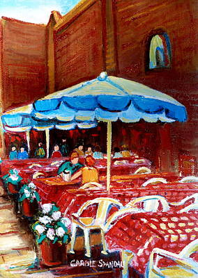 Montreal Buildings Painting - Checkered Tablecloths by Carole Spandau