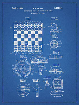 Drawing - Checkers And Chess Game Board Patent by Dan Sproul
