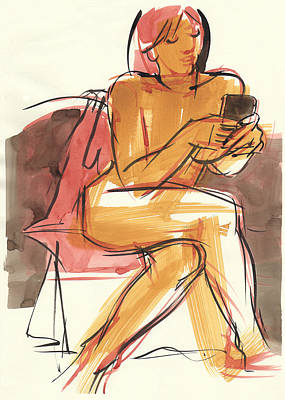 Painting - Checking The Phone by Judith Kunzle
