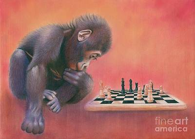 Cute Monkey Drawing - Checkmate by Karen Hull