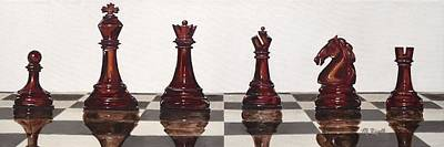 Chess Pieces Painting - Checkmate by Michelle Lee Rigell