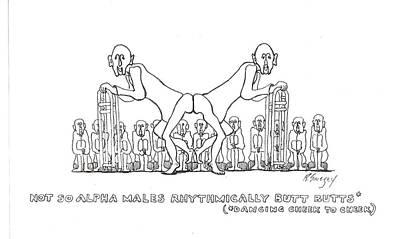 Art Print featuring the drawing Cheek To Cheek by R  Allen Swezey