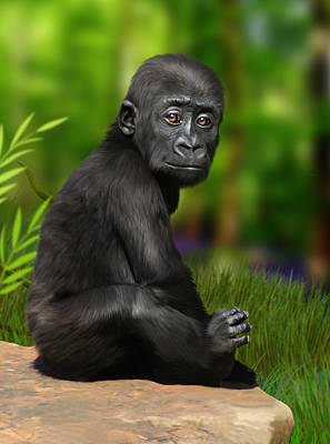 Ape Digital Art - Cheeky Boy by Julie L Hoddinott