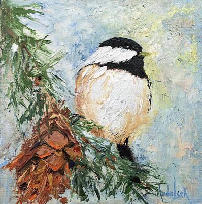 Painting - Cheeky Chickadee by Barbara Andolsek