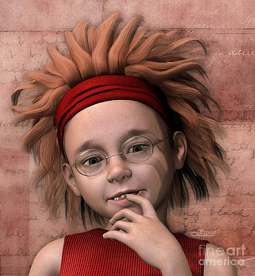 Digital Art - Cheeky Little Miss by Jutta Maria Pusl