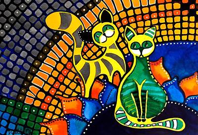 Painting - Cheer Up My Friend - Cat Art By Dora Hathazi Mendes by Dora Hathazi Mendes