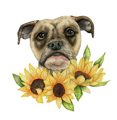 Painting - Cheerful - Bulldog Mix With Sunflowers Watercolor Painting by NamiBear