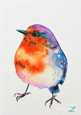 Painting - Cheerful Robin by Zaira Dzhaubaeva