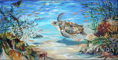 Painting - Cheerful Sea Turtle by Linda Olsen