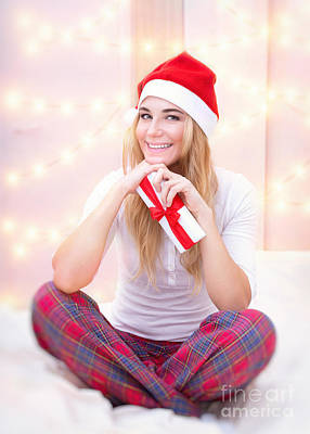 Photograph - Cheerful Woman With Christmas Gift  by Anna Om