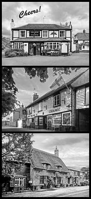 Cheers - Eat Drink And Be Merry - 3 Pubs Bw Art Print by Gill Billington