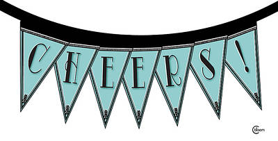 Cheers Mixed Media - Pennant Deco Blues Streamer Sign Cheers by Cecely Bloom