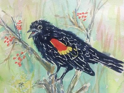 Painting - Cheery Redwinged Blackbird  by Ellen Levinson