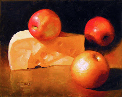 Old World Still Life Painting - Cheese And Apples by Timothy Jones
