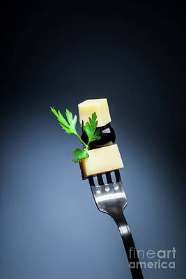 Photograph - Cheese And Olive On The Fork by Anna Om