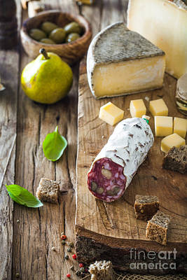 Cheddar Cheese Photograph - Cheese And Salami by Mythja Photography