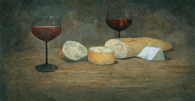Painting - Cheese And Wine by Steve Mitchell
