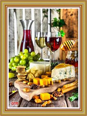 Travel - Cheese And Wine Table Still Life. L A S With Decorative Ornate Printed Frame. by Gert J Rheeders