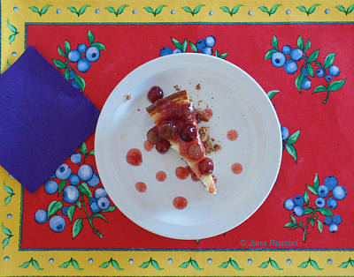 Digital Art - Cheese Cake With Cherries by Jana Russon