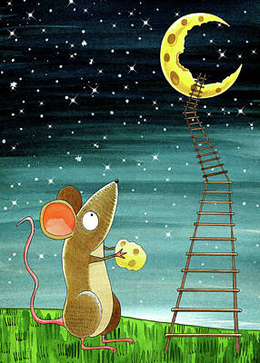 Mice Drawing - Cheese Moon  by Andrew Hitchen