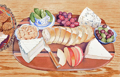 Blue Grapes Painting - Cheese Plate For A Party by Mary Helmreich