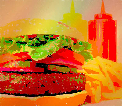 Digital Art - Cheeseburger And Fries Pop Art by Dan Sproul