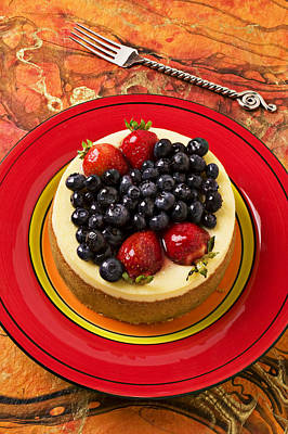 Strawberry Photograph - Cheesecake On Red Plate by Garry Gay