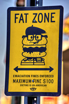 Cheesesteakeries Of South Philly - Fat Zone Warning - Near Pat's King Of Steaks And Geno's Art Print by Michael Mazaika