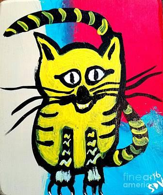 Disco Mixed Media - Cheesy Charlie Whimsical Cat by Scott D Van Osdol