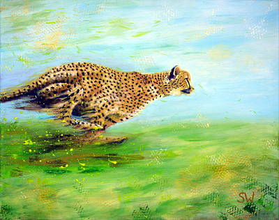 Painting - Cheetah At Speed by Shirley Wellstead