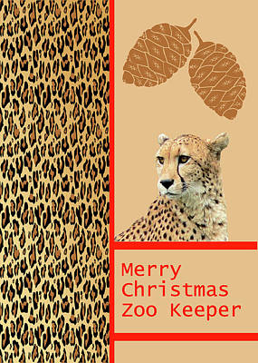 Mixed Media - Cheetah Card For Zoo Keeper by Rosalie Scanlon