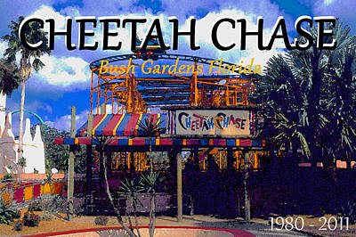 Painting - Cheetah Chase 1980 - 2011 by David Lee Thompson