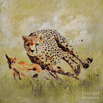 Gazelle Painting - Cheetah Chasing  by Gull G