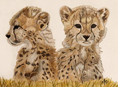 Cheetah Painting - Cheetah Cubs Watercolor by Angeles M Pomata